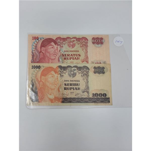 2 bank of Indonesia notes 1 100, 1 1000