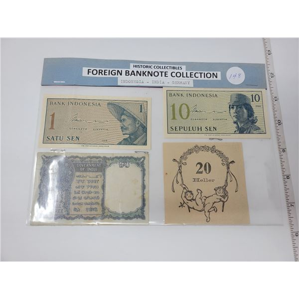 4 bank note collection 2 Indonesia, 1 India, 1 Germany