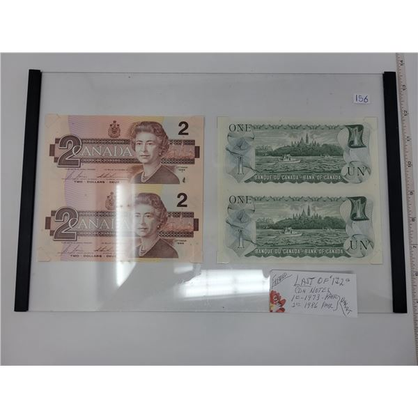 Framed 2 1973 $1 & 2 1986 $2 notes - both uncut & uncirculated