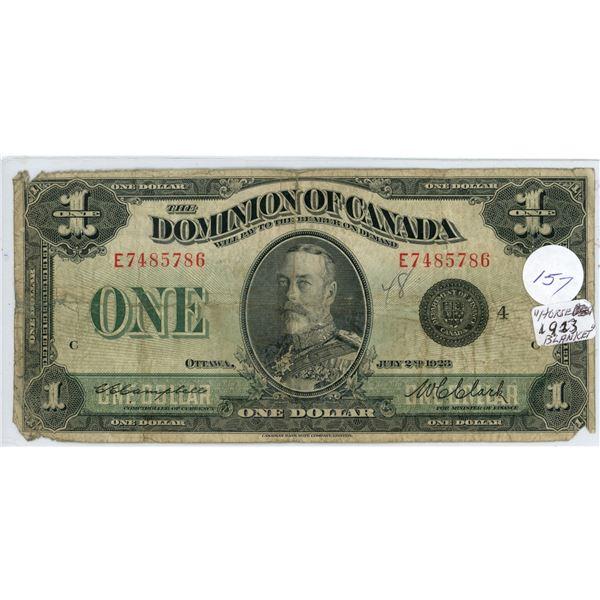 1923 $1.00 Dominion of Canada bill