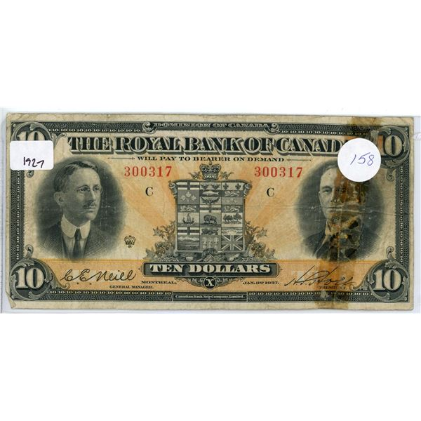 """1927 $10 The Royal Bank of Canada bill - """"Note Tape"""""""