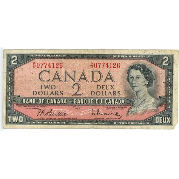 1954 $2 Bank of Canada bill