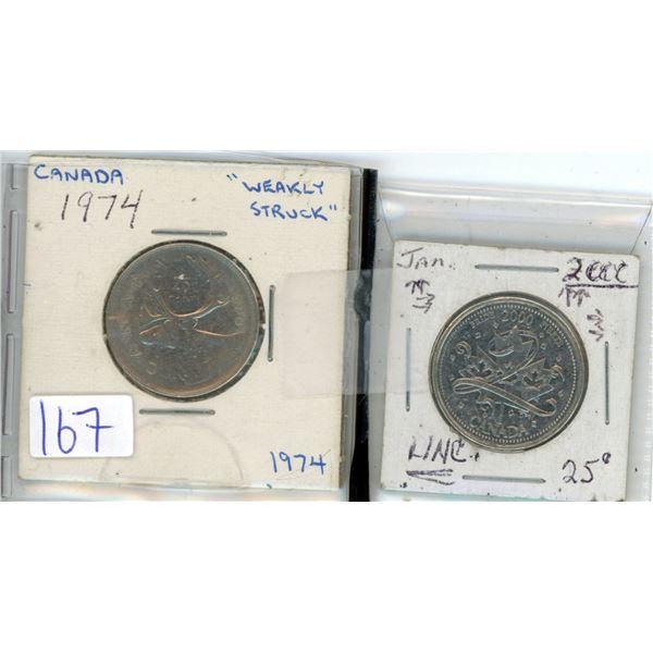 2 Cdn 25¢ pieces 1974 & special 2000