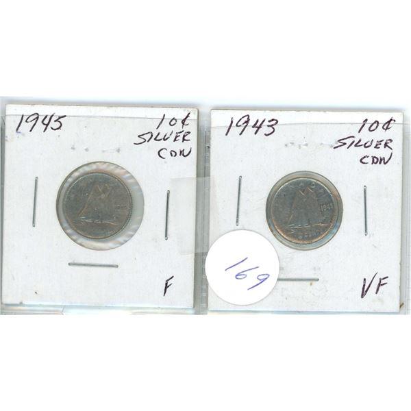 2 Cdn 10¢ 1943/45