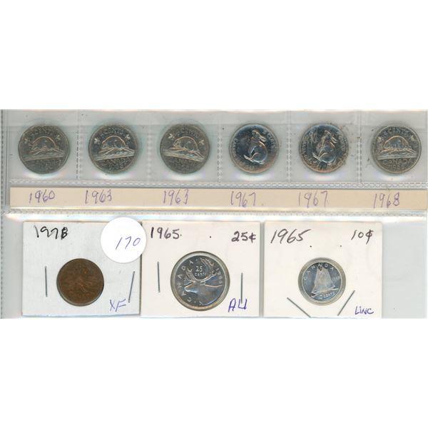 6 Cdn 5¢ coins 1 penny, 1 dime, 1 quarter various dates