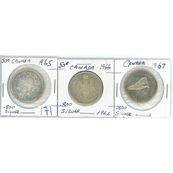 3 Cdn silver 50¢ coins 1965/66/67