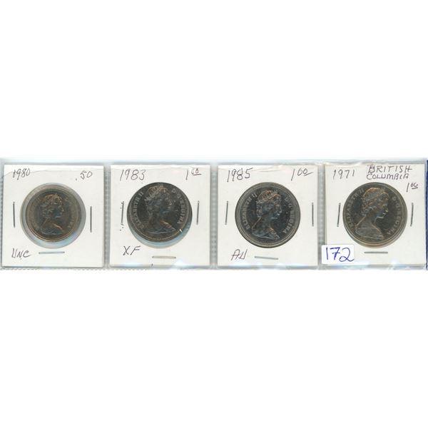 4 Cdn 50¢ coins 1971/80/83/85