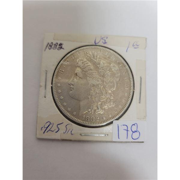 1882 US Morgan .29 silver coin