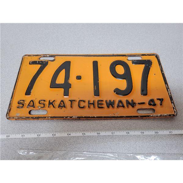 1947 Saskatchewan license plate