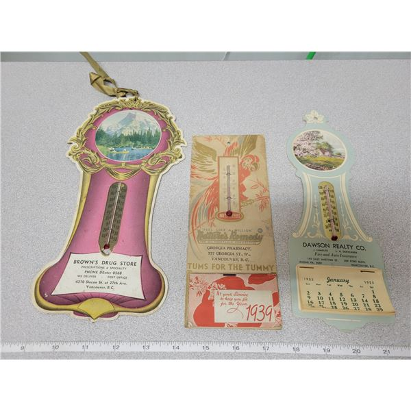 3 Advertising thermometers - 2 with Calendar 1939-1955\