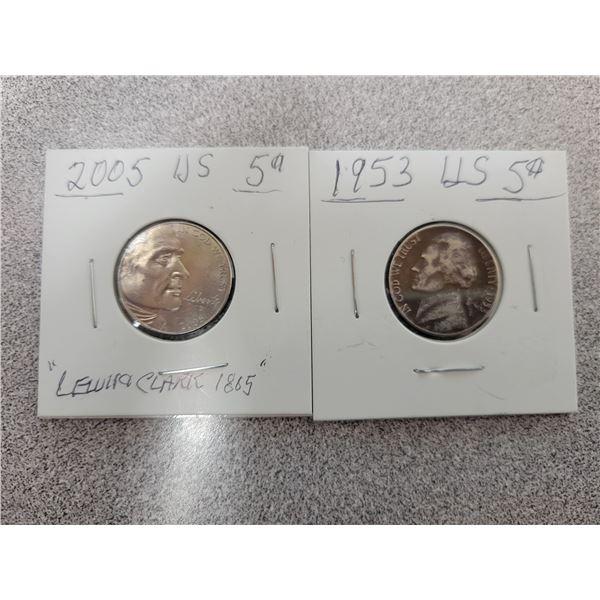 2 USA 5¢ coins 1953 & 2005
