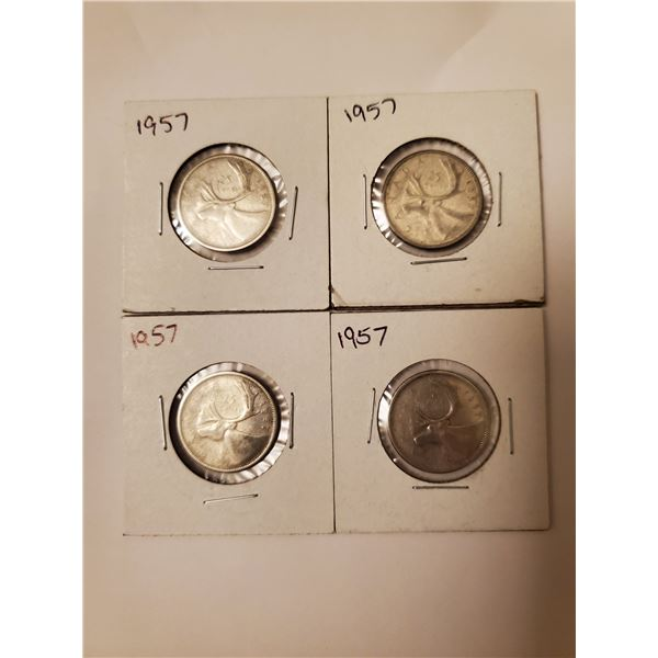 4 Canadian 1957 silver 25 cents