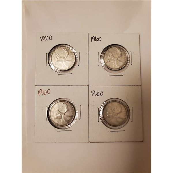 4 Canadian 1960 silver 25 cents