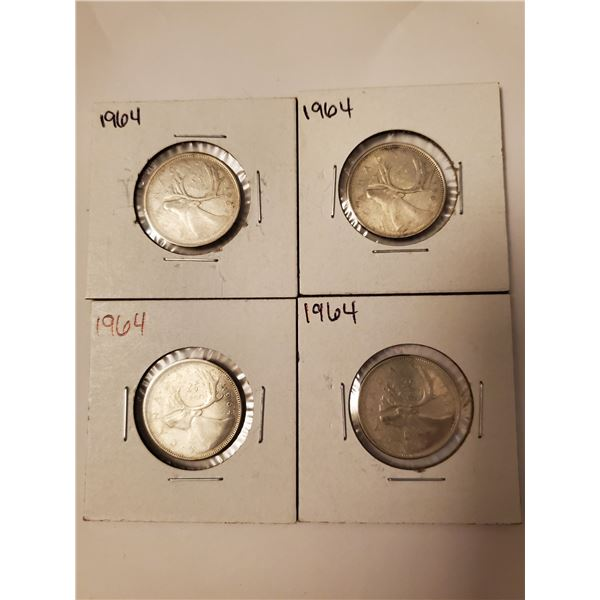 4 Canadian 1964 silver 25 cents
