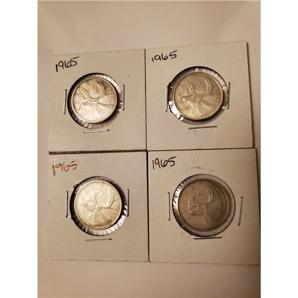 4 Canadian 1965 silver 25 cents