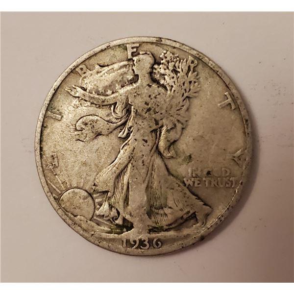 1936 Walking Liberty US 90% silver half dollar