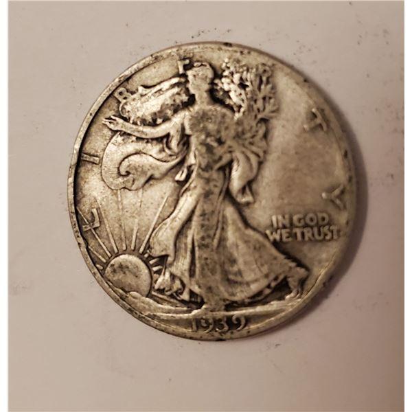 1939 Walking Liberty US 90% silver half dollar
