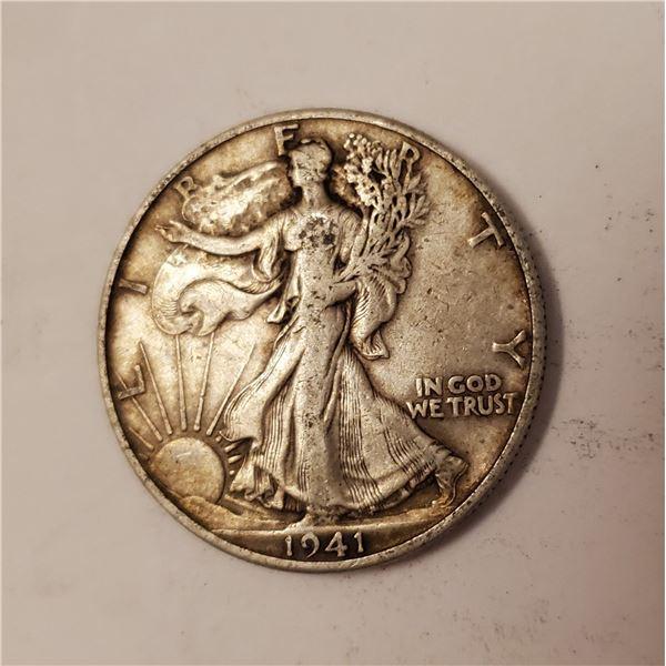 1941 Walking Liberty US 90% silver half dollar