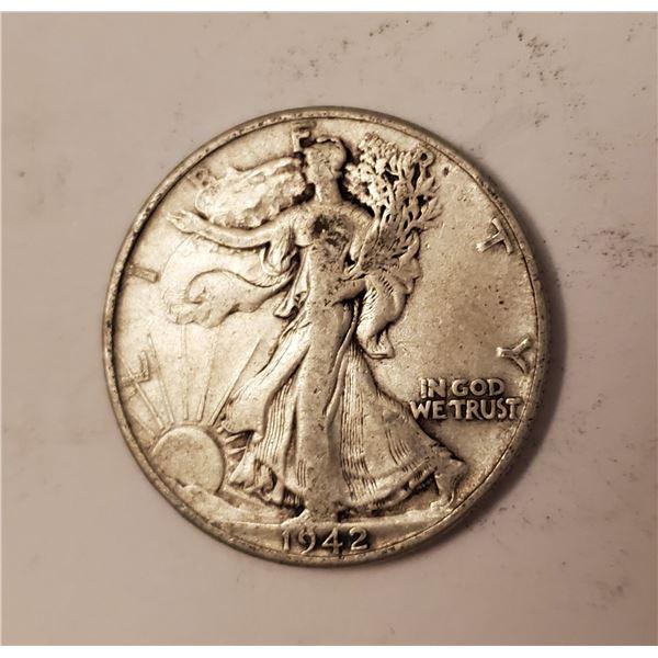 1942 Walking Liberty US 90% silver half dollar