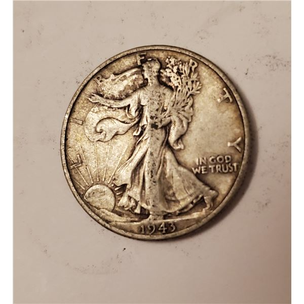 1943 Walking Liberty US 90% silver half dollar