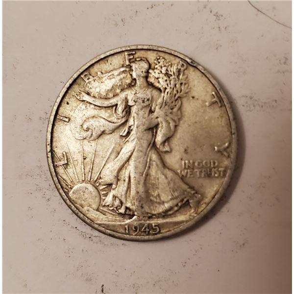 1945 Walking Liberty US 90% silver half dollar
