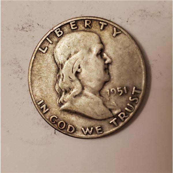 1951 Benjamin Franklin US 90% silver half dollar
