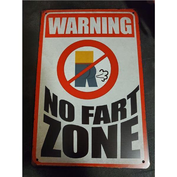 No Fart Zone Tin Sign