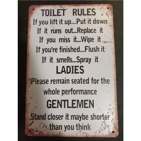 Toilet Rules Tin Sign