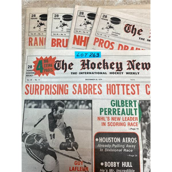 74-75 Vol 28 No 11-15 The Hockey News Guy LaFleur Simply Fantastic for Canadians Phil Esposito 500 G