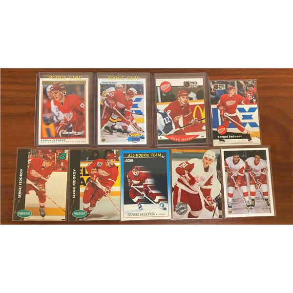 3 different 1990-91 Federov rookie cards plus 6 others