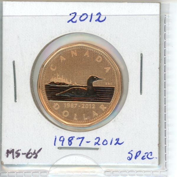 1987-2012 Fine Silver Proof Dollar With Gold Plated Loon