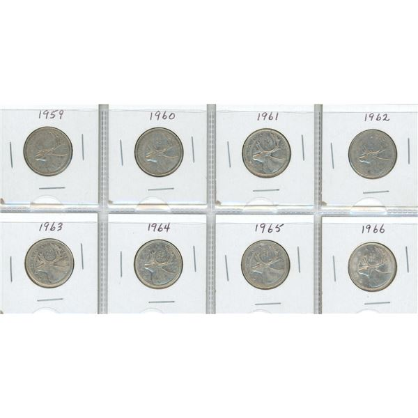 Eight Silver Canadian Quarters - 1959-1966