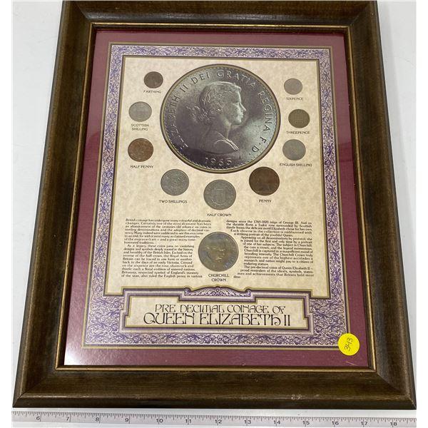 "Wood Framed ""Pre Decimal Coinage Of Queen Elizabeth II"" (13""x16"")"