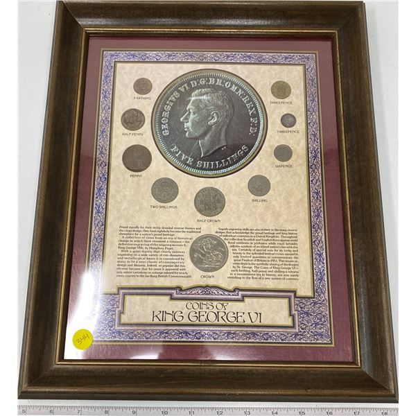 "Wood Framed ""King George VI Coins Of The United Kingdom""(13""x16"")"