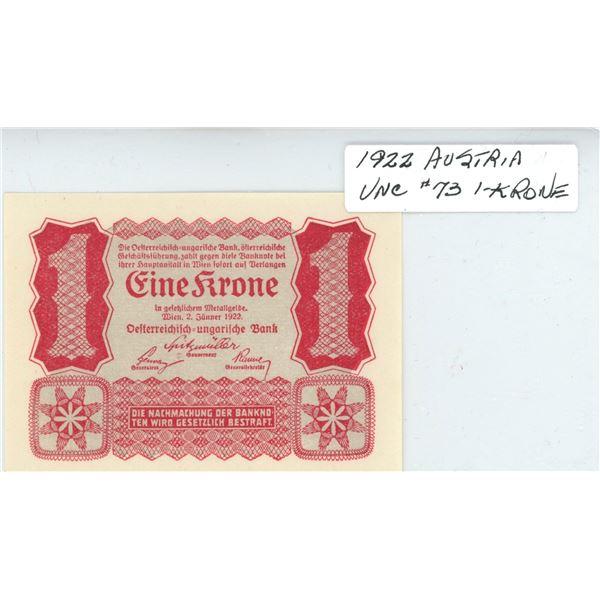1922 Austria One Krone - Cat #73 - UNC