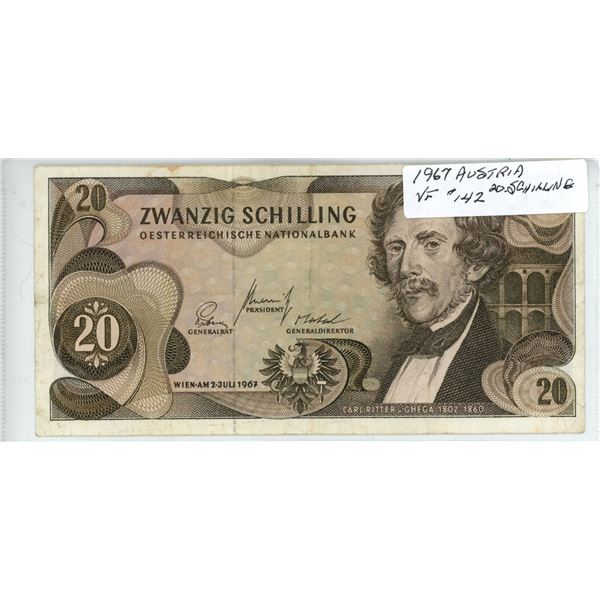 1967 Austria Twenty Schilling - Cat #142 - VF