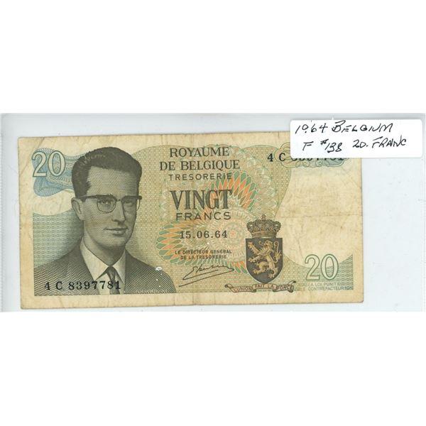 1964 Belgium Twenty Francs - Cat #138 - Fine