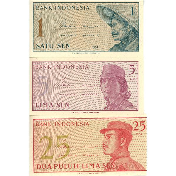 1964 Indonesia One Sen, Five Sen, And Twenty-Five Sen Notes - Cat #90, 91, 92 - UNC