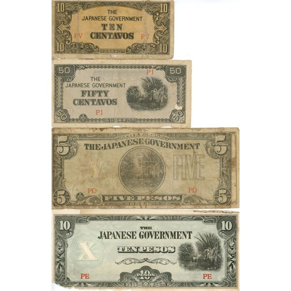No Date - Philippines (Japanese Government 10 And 50 Centavos, 2 @ 5 Peso, And 10 Peso
