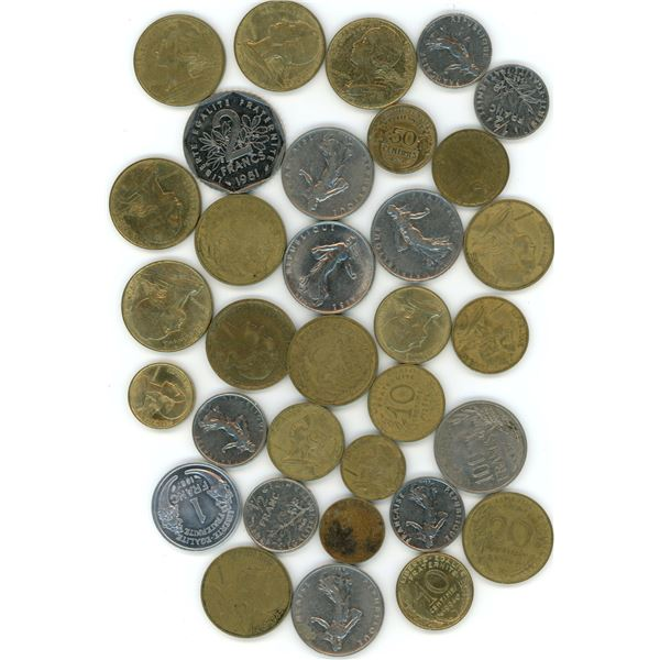 33 World Coins From France - Refer To Pictures