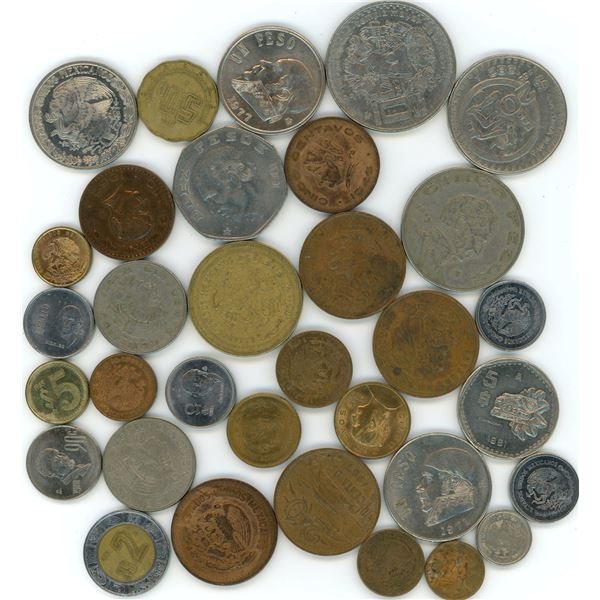 33 World Coins From Mexico - Refer To Pictures