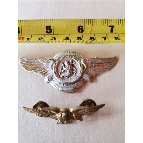 Vintage St. Christopher pin & eagle pin