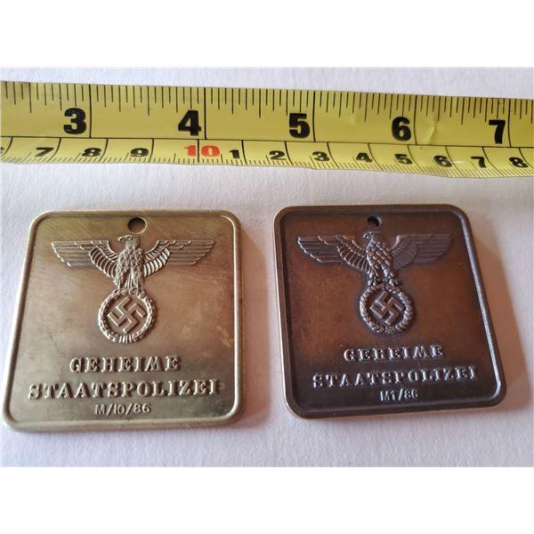 Pair of WWII German state secret police Gestapo ID tags - reprints