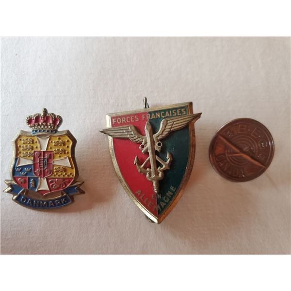 3 vintage military pins - B.E.G. Canada, Denmark, Forces Francaises on Allemagne