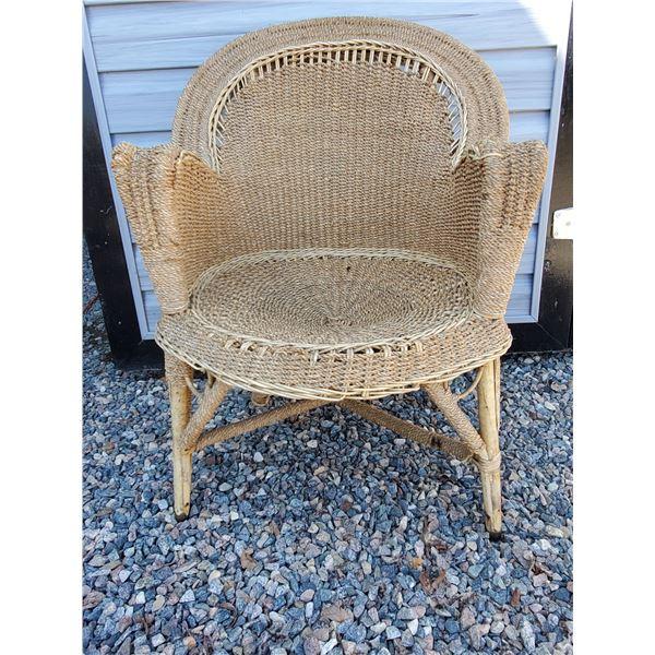 Vintage wicker arm chair for deck/garden