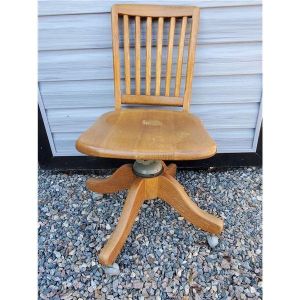1940's Oak office chair  - swivel, recline, casters