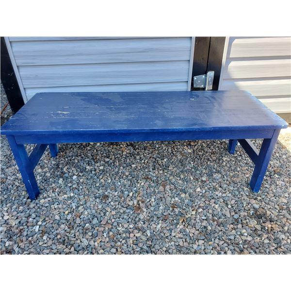 4' Oak garden/deck bench painted blue