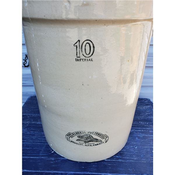 10 Gallon open crock - fantastic beaver stamp, Alberta Potteries, couple of hairlines and crack on b