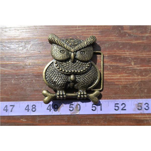 Brass Owl Belt Buckle