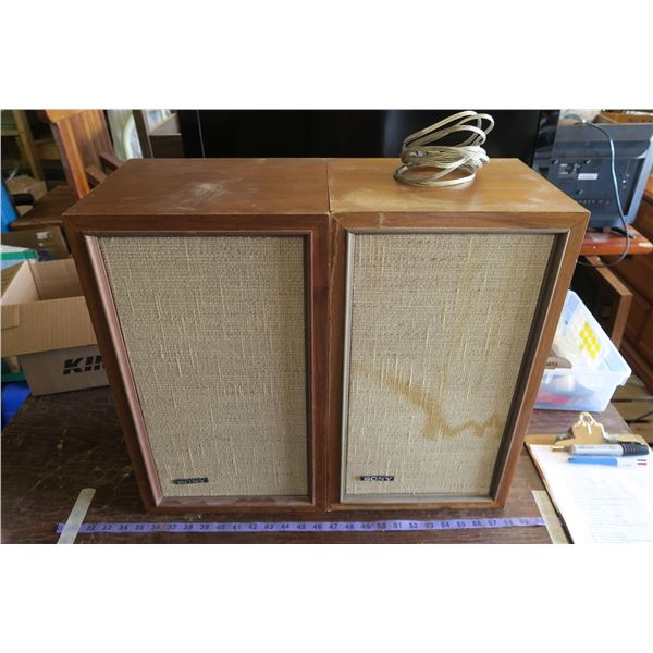 """2 Sony Wood Box Speakers 20""""×12""""×10"""""""